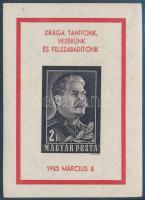 1953 Sztálin vágott gyászblokk (50.000)