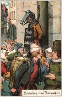 Bestrafung eines Zotenreissers / Punishment of an  obscene hooligan, Middle Ages, humour litho, Egy obszcén huligán büntetése a középkorban, humor litho