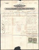 1870 Ruszkberg/Ruszkabánya, Factura von der Direction des Kronstädter Bergbau u. Hütten-Actien-Vereins fejléces számlája, 2 Kr. és 3 Kr. határőrvidéki okmánybélyegekkel.