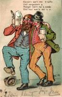 Beer-humor, drunk men, litho, Sör, ittas férfiak, litho