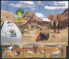 2010 Labdarúgó-világbajnokság, Dél-Afrika hármascsík + vágott blokk, Football World Cup, South Africa stripe of 3 + imperdorated block Mi 3237-3239 + Mi 205