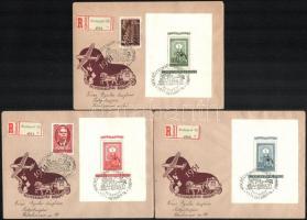 1951 80 éves a magyar bélyeg blokksor 3 db ajánlott FDC-n (45.000)