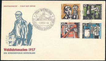 NSZK 1957 Bányászat Mi 270-273 FDC (Mi EUR 65.-)