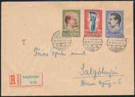 1947 Harmincéves a Szovjetunió sor ajánlott levélen elsőnapi bélyegzéssel (60.000) / on registered cover with first day cancellation