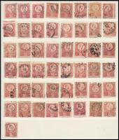 1871 Réznyomat 5kr 49 db bélyeg közte színváltozatok, elfogazott, képbe fogazott bélyegek