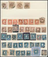 1850-1863 43 db bélyeg közte kivágások, változatok, bélyegzések