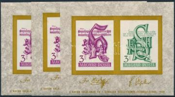 1959 3 db Haydn Schiller blokk (15.000)