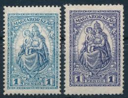 1926 Keskeny Madonna erősen eltérő színű 1P bélyeg + támpéldány, mindkettő újragumizott