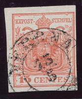 1850 Mi 3 HP IIa. gépszínátnyomattal, cinóberpiros VERONA (Ferchenbauer EUR 250.-) Certificate Ferchenbauer