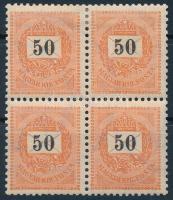 1898 50kr négyestömb, 4. vízjelállás, 1 bélyeg postatiszta (125.000+++)