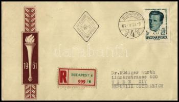 1961 Arcképek (III.) - Kilián György 1Ft vágott bélyeg ajánlott FDC-n