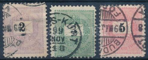 1898 2kr, 3kr és 5kr 11 1/2 fogazással (17.000)
