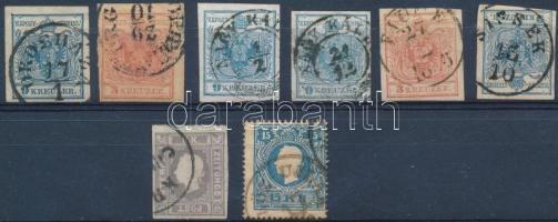 1850-1851 8 db-os OPM tétel, benne 2 db I. típusú 9kr