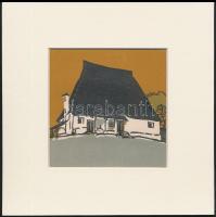 Kós Károly (1883-1977): Ház, színes linómetszet, papír, jelzés nélkül, paszpartuban, 12×12 cm