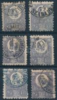 1871 6 db vegyes minőségű Réznyomat 25kr bélyeg, 5 különféle pénzutalvány bélyegzés (~50.000)