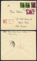 1945 (5. díjszabás) Ajánlott levél az USA-ba / Mi 819 (2x), 820, 834 on registered cover to the USA