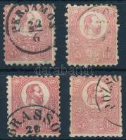1871 Kőnyomat 5kr 4 db vegyes minőségű bélyeg (min. 28.000)