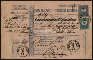 1877 Kétnyelvű postautalvány 100 Guldenről 5kr díjjeggyel, 10kr kiegészítéssel BELLOVÁR - POLA