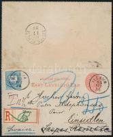 1893 5kr díjjegyes zárt levelezőlap Színesszámú 10kr kiegészítéssel. A küldeményt Illaváról eredetileg a svájci Einsiedelbe akarták küldeni, de egy félreértés miatt valaki ráírta, hogy Szepes Remete (Einsiedel, Felvidék), ezért kis kerülővel és portó előjegyzéssel jutott el a Svájci címzetthez. Érdekes postatörténeti darab!! Ex Ryan!