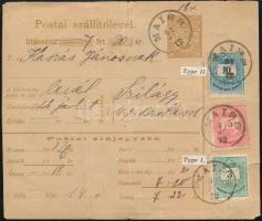 1891 Utánvételes csomagszállító Színesszámú 3kr, 5kr, 10kr bérmentesítéssel MAISS - BERKESD - Szilágy