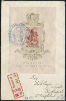 1939 Bethlen fogazott blokk kék alkalmi bélyegzéssel helyi ajánlott levélen