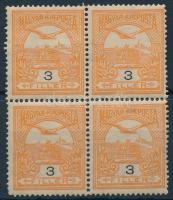 1908 Turul 3f 1. vízjelállás négyestömb, 3 bélyeg postatiszta (14.000)