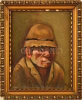 Kiss jelzéssel: Cigarettázó férfi. Olaj, vászon, hibás keretben, 17×13 cm