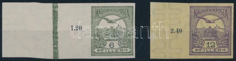 1913 Turul 6f és 12f vágott bélyeg nagy ívszéllel