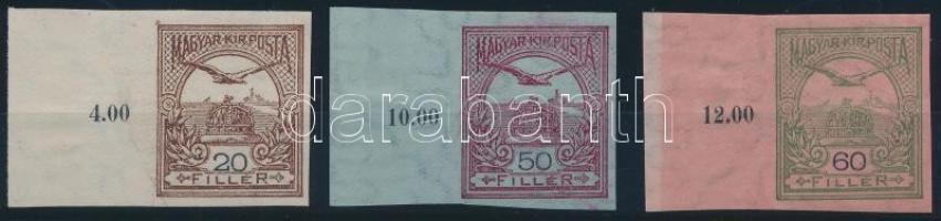 1913 Turul 20f, 50f és 60f vágott bélyeg nagy ívszéllel