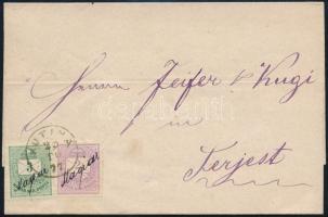 1877 Színesszámú 2kr + 3kr levélen KUTINA - SISAK - TRIEST
