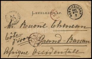 1904 Sennyey Irma bárónő képeslapja NAGY-CZIGÁND-ról Londonon keresztül az elefántcsontparti Grand Bassam-ba, átmenő és érkezési bélyegzésekkel. Rendkívül ritka destináció!!!