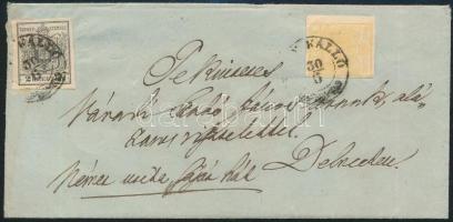 ~1855 1kr + 2kr MP távolsági levélen (NAGY) KÁLLÓ - DEBRECEN