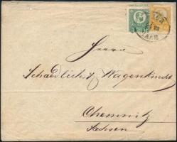 1873 Réznyomat 2kr + 3kr levélen GYŐR / RAAB Németországba küldve, 2kr alsó részén szegélylécnyomattal, 3kr elfogazva, ritka darab