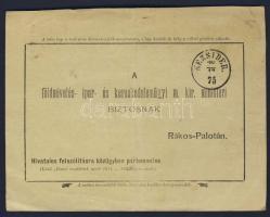 1875 Portómentes levelezőlap NEZSIDER - Rákospalota