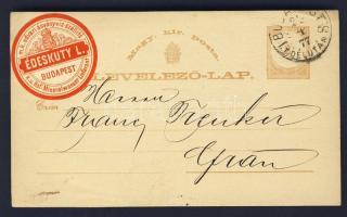 1877 Díjjegyes levelezőlap BUDAPEST Lr 8 DÉLUTÁN ÉDESKUTY L. ásványvíz szállító levélzáróval