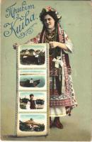 1913 Kiev, Kiew, Kyiv; Greetings from Kiev! Ukrainian folklore, traditional costume (EK)