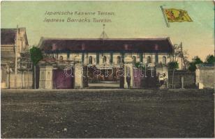 1913 Tianjin, Tientsin; Japanische Kaserne / Japanese Barracks, Flag of the Qing dynasty