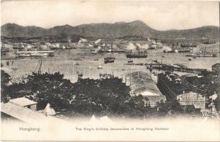 Hong Kong, Hongkong; The Kings birthday decorations in Hongkong Harbour. Published by M. Sternberg