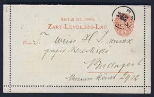 1889 5kr díjjegyes zárt levelezőlap BRAD - Budapest