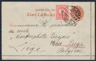 1894 5kr díjjegyes zárt levelezőlap Feketeszámú 5kr díjkiegészítéssel Belgiumba