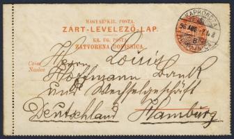1896 Kétnyelvű 5kr díjjegyes zárt levelezőlap KAPRONCZA KOPRIVNICA - Hamburg