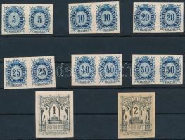 1874 Távirda sor, fogazatlan próbanyomatok kartonpapíron, a krajcáros értékek párokban + a 2 záróérték / Telegraph stamps Mi 11-16, 6 different proof imperforate pairs + Mi 17-18 proofs on cardboard paper