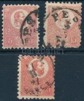 1871 Kőnyomat 5kr színváltozatok 3 db (min 21.000)