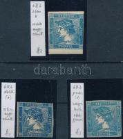 1851 3 dn IIIb tipusú Hírlapbélyeg, különböző, azonosított színek, Strakosch azonosítás