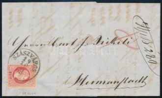 1869 5kr levélen SZÁSZVÁROS
