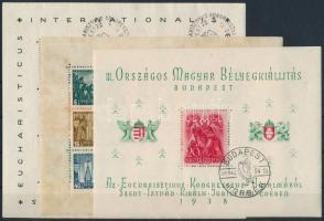 1938 Eucharisztikus, ORBÉK és Szent István blokkok, jó minőség (21.000)
