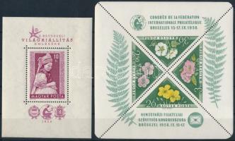 1958 Brüsszeli blokk + FIP Virág blokk (13.000)
