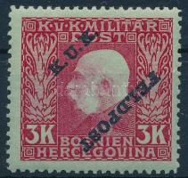 1915 K.u.k. Feldpost felülnyomott 3K, a FELDPOST fordított. Ritka!