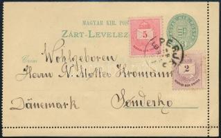 1882 3kr zárt levelezőlap 2kr + 5kr díjkiegészítéssel EPERJES - Sonderho, Dánia, ritka, dekoratív darab
