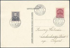 1939 szept. 4. 1f + 1f bérmentesítéssel KIRÁLYHÁZA kétnyelvű bélyegzéssel